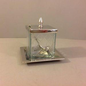 Hoff Interieur Barattolo in vetro con piattino e coperchio in metallo