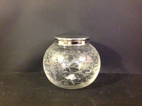 Lorenzongift Scatola in vetro serigrafato rotonda con tappo silver