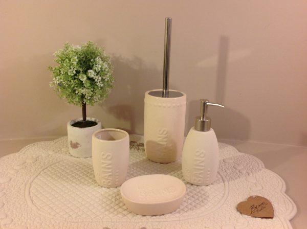Comptoire de Famille Porta spazzolini in ceramica ruvida beige