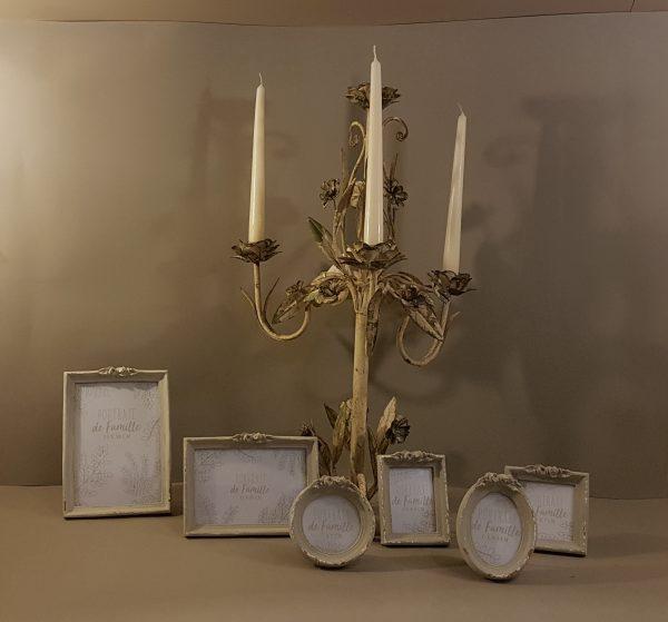 EDG (Enzo De Gasperi) Candeliere in ferro anticato panna