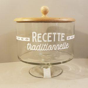 """Comptoire de Famille Barattolo in vetro con tappo in legno""""Recette Traditionelle"""""""