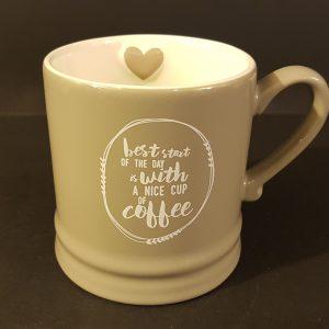 """Bastion Collection Mug tortora con scritta bianca """"Best Start.."""""""