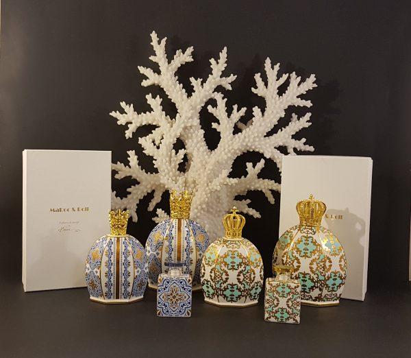 Baci Milano Lampada Catalitica fantasia blu e oro tappo corona oro