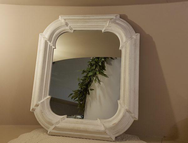 Côté Table Specchio legno bianco decapato Cote Table