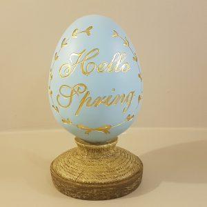 uovo azzurro resina con piede