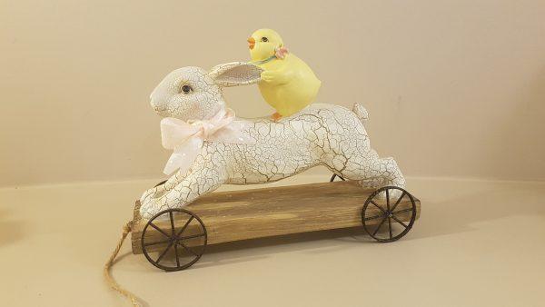 coniglio su ruote con pulcino