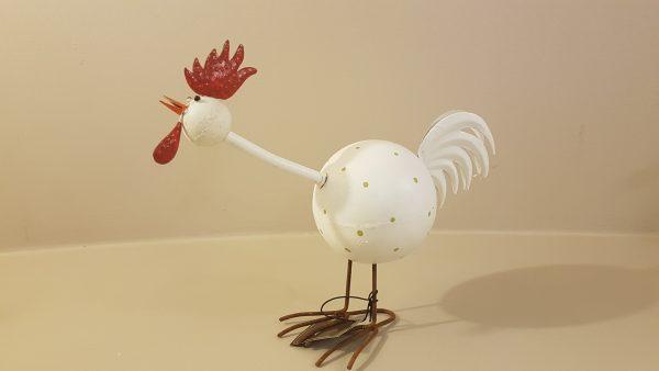 Gallo in latta bianca a pois con cresta rossa