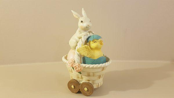 cestino resina con pulcino e coniglio