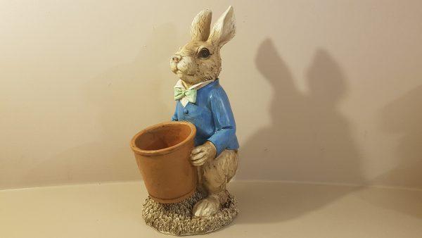 coniglio in resina porta pianta