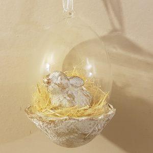 decoro da appendere vetro con coniglio