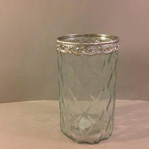 vaso vetro lavorato bordo metallo