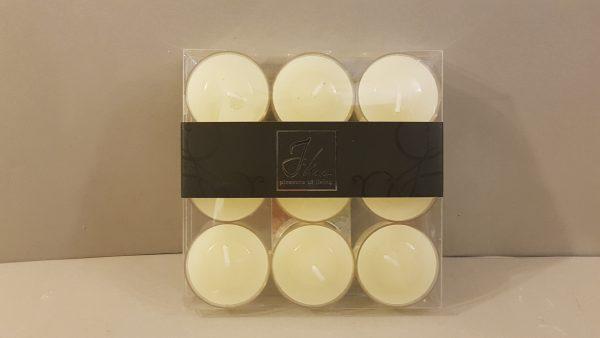 scatola con 9 tea lights trasparenti