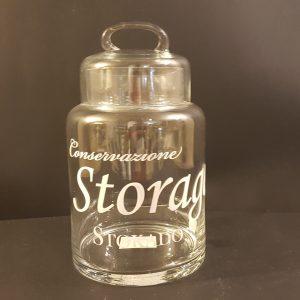 barattolo vetro scritta storage