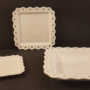 Coccole di Casa Piattino Ceramica bordo cuoricini