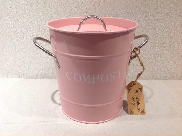 bidoncino per compost metallo rosa con pois bianchi