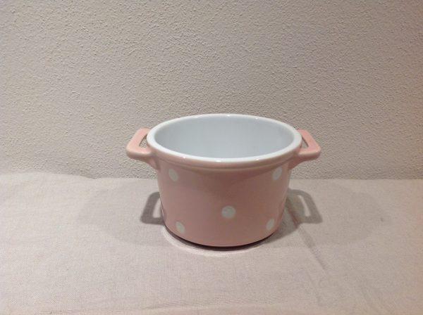ramekin in ceramica rosa e pois bianchi