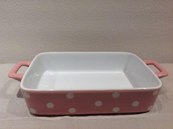 pirofila rett ceramica rosa pois bianchi