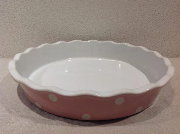 tortiera ceramica rosa pois bianchi gr