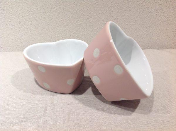 ciotolina cuore ceramica rosa a pois bianchi