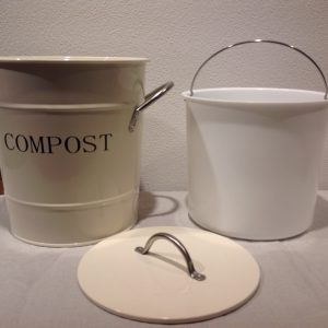 bidoncino compost metallo beige scritta nera