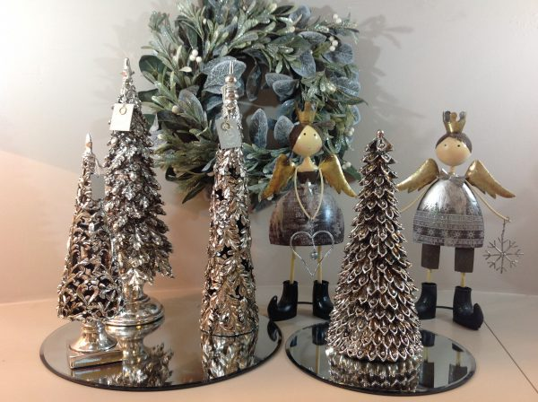 angeli di natale + serie pini resina color argento + ghirlanda