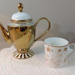 teiera ceramica oro bianca + mug ceramica