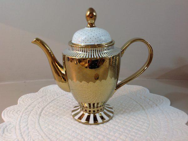 teiera ceramica oro bianca