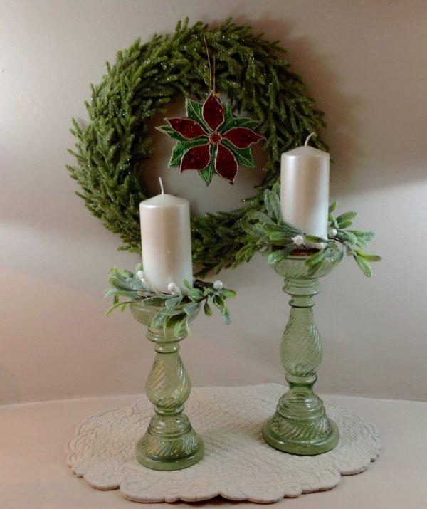 serie porta candela vetro lavorato verde con giro candela e candela