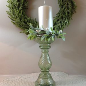 porta candela vetro lavorato verde con giro candela e candela