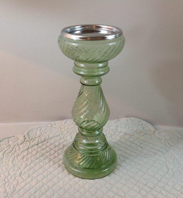 porta candela vetro lavorato verde