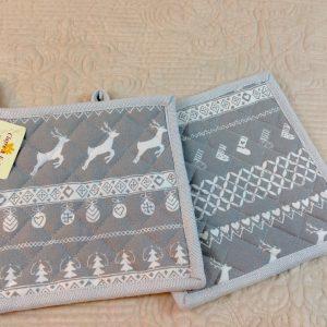 presine fantasia natalizia grigia e bianca