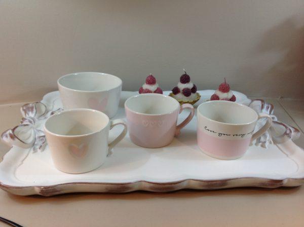 "Bastion Collection Tazza in ceramica panna e rosa "" love you very mug"""