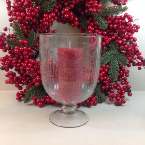 Hoff Interieur Vaso porta candela con piede in vetro intagliato Hoff