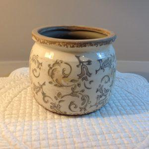 Vaso ovale piccolo panna e tortora chiaro