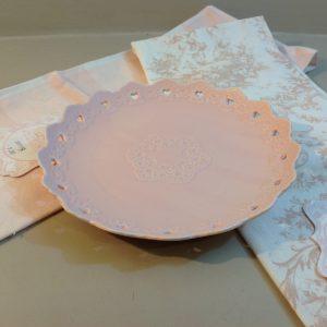 Blanc Mariclò Piattino rosa con cuoricini e fregio Blanc