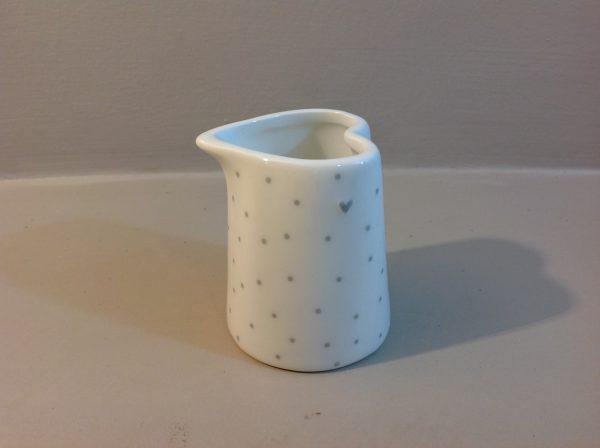 Bastion Collection Lattiera in ceramica righe grigie con cuoricino