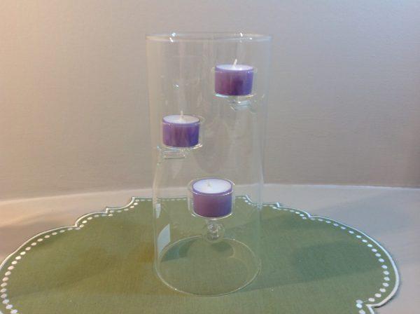 EDG (Enzo De Gasperi) Portacandela in vetro cilindrico a 3 candele