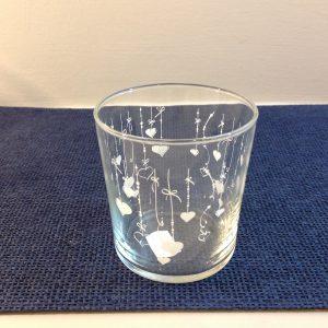bicchiere cascata di cuori