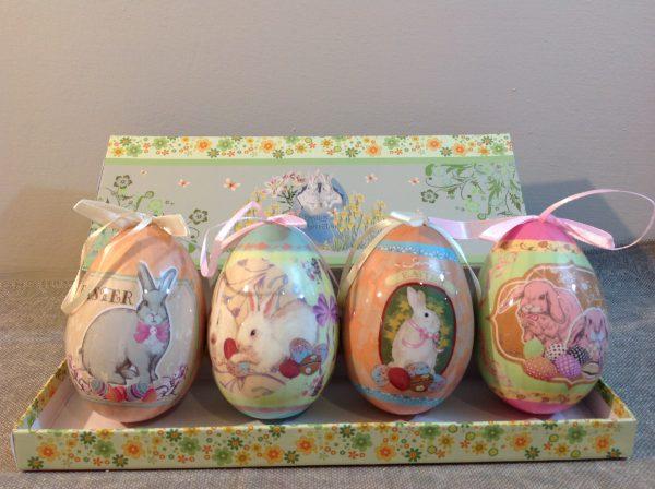 Scatola in cartone fantasia pasquale con 4 uova grandi Hoff
