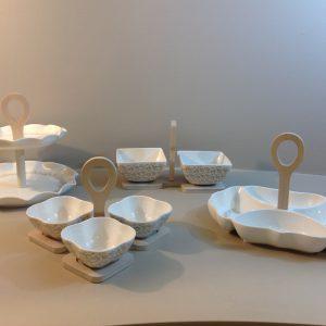 Brandani Zuccheriera in porcellana fantasia tortora con bambù