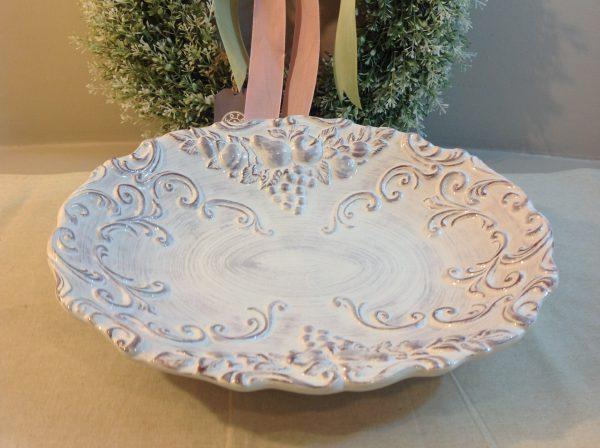 MC Diffusion Piatto in ceramica bianca decapata tortora quadrato con manici