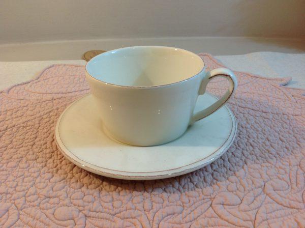 Côté Table Tazza colazione con piatto bianca filino grigio