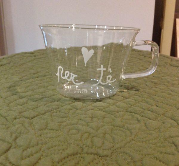 Simple Day Set 2 tazze in vetro con scritta buongiorno