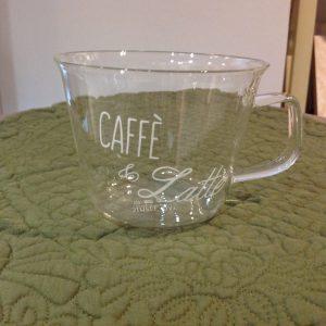 Simple Day Set 2 tazzine in vetro con manico scritta bianca Caffè e latte