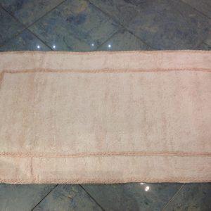L'Atelier 17 Tappeto da bagno panna con doppio bordo frappa