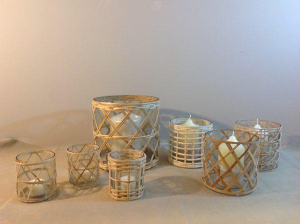 Hoff Interieur Porta candela in vetro con bambù intrecciato Hoff
