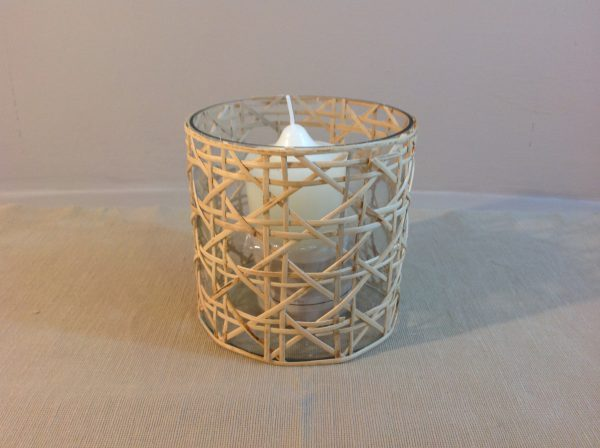 Hoff Interieur Porta candela in bambù e vetro Hoff