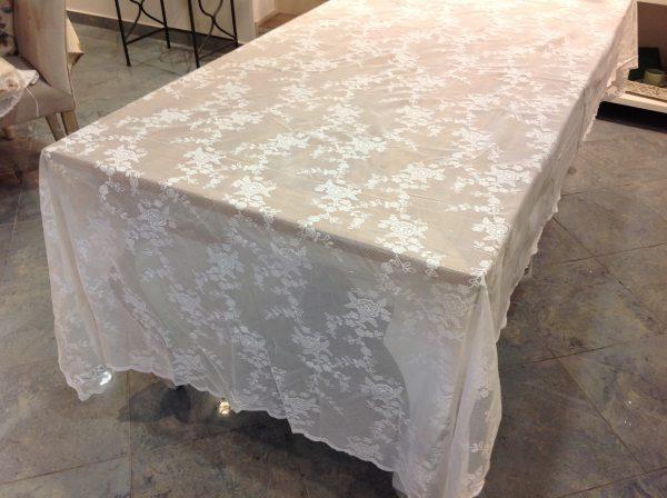 L'Atelier 17 Tovaglia in pizzo bianco Ciel 160x270 in poliestere