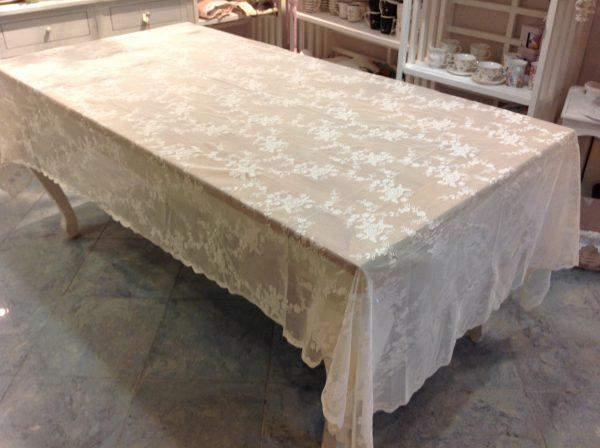 L'Atelier 17 Tovaglia in pizzo Ciel panna 160x270