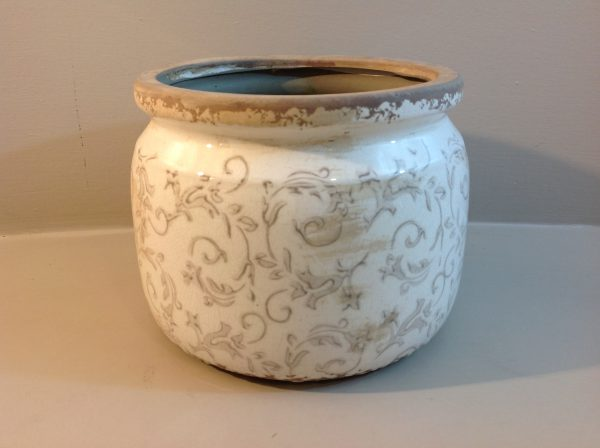 Vaso in ceramica fondo panna fantasia beige